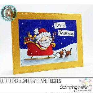 Stamping Bella Santa and His Reindeer Stamp class=