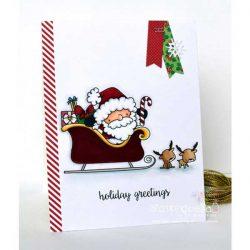 Stamping Bella Santa and His Reindeer Stamp