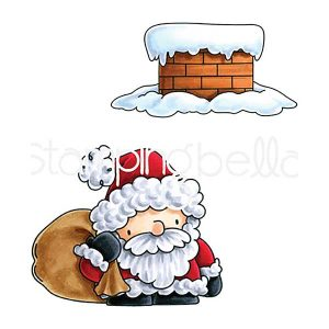 Stamping Bella Santa and His Chimney Rubber Stamp