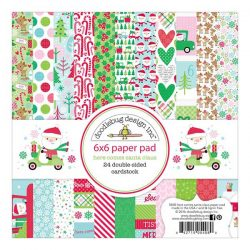 "Doodlebug Here Comes Santa Claus Double-Sided Paper Pad - 6"" x 6"""