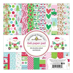 "Doodlebug Here Comes Santa Claus Double-Sided Paper Pad - 6"" x 6"" class="