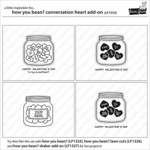Lawn Fawn How You Bean? Conversation Heart Add-on Stamp Set class=