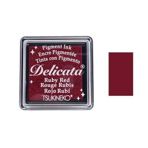 Delicata Small Pigment Inkpad – Ruby Red Shimmer