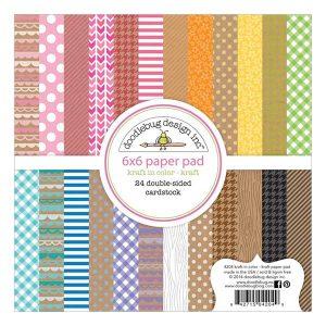 """Doodlebug Kraft In Color Paper pad - 6"""" x 6"""""""