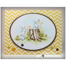 Art Impressions Watercolor Bunnies Set