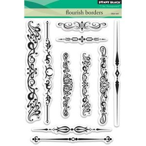 Penny Black Flourish Borders Clear Stamp Set