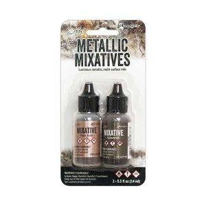 Tim Holtz Alcohol Inks – Rose Gold & Gunmetal Metallic Mixatives class=