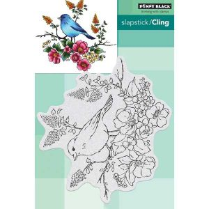 Penny Black Flower Perch Stamp class=