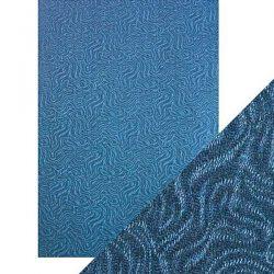 Tonic Studios Craft Perfect Luxury Embossing Card - Denim Ripple