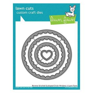 "Lawn Fawn Reverse Stitched Scalloped Circle Windows Lawn Cuts <span style=""color:red;"">Reserve – more on the way</span>"