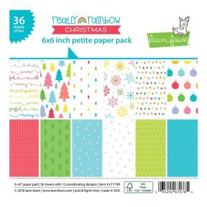 Lawn Fawn Really Rainbow Christmas Petite Paper Pack – 6″ x 6″