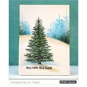 Penny Black Winter Tree Cling Stamp class=