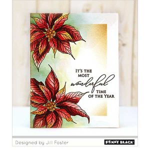 Penny Black Christmas Poinsettia Cling Stamp class=