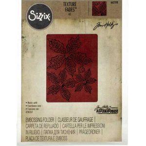 Sizzix - Tim Holtz Texture Fades Embossing Folder - Tattered Poinsettia class=