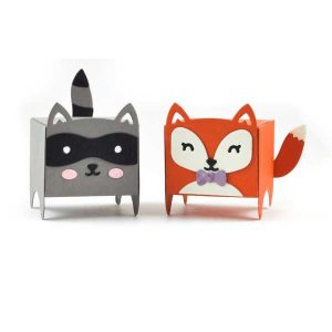 Lawn Fawn Tiny Gift Box Raccoon and Fox Add-on Lawn Cuts class=