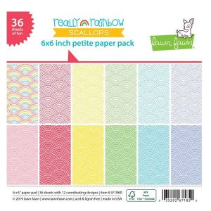 Lawn Fawn Really Rainbow Scallops Petite Paper Pack
