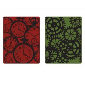 Sizzix - Tim Holtz Texture Fades Embossing Folders - Pocket Watches & Steampunk