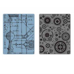 Sizzix - Tim Holtz Texture Fades Embossing Folders - Blueprint & Gears