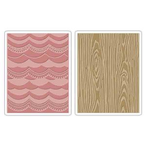 Sizzix - Tim Holtz Texture Fades Embossing Folders - Drapery & Woodgrain