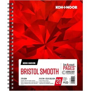"Koh-I-Noor Bristol Smooth Bright White Paper Pad - 9""x12"""