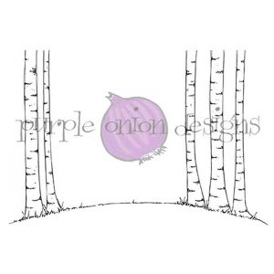 Purple Onion Designs Birch Tree Background Stamp