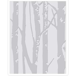 Sizzix - Tim Holtz Texture Fades Embossing Folder - Birch Trees class=
