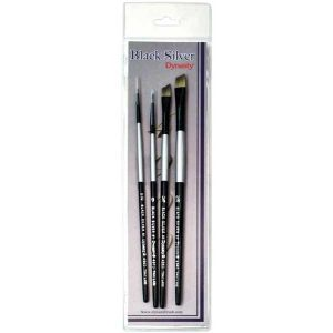 Black Silver Short Handle Brush Set - 4/Pkg
