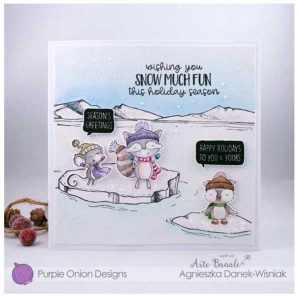 Purple Onion Designs Douglas (Cheering Winter Raccoon) class=