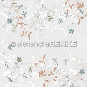 Alexandra Renke Design Paper - Spring Flowers Grey/Brown/Green