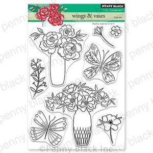 Penny Black Wings & Vases Clear Stamp Set