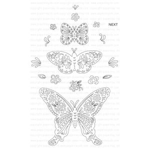 Papertrey Ink Butterfly Folk Outline Stamp Set