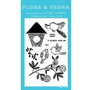 Flora & Fauna Woodgrain Bird Stamp Set