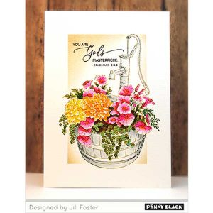 Penny Black Barrel Of Blooms Cling Stamp class=