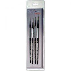 Black Silver Short Handle Brush Set 4/Pkg - Round 0,1,2,4