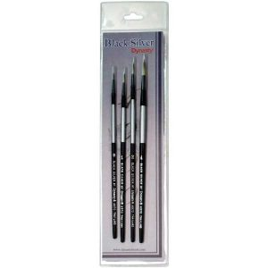 Black Silver Short Handle Brush Set 4/Pkg - Round 0,1,2,4