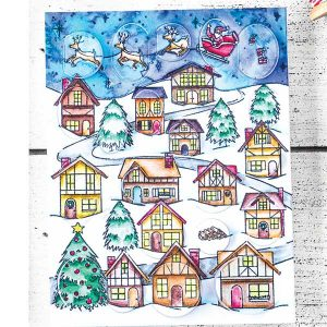 Hero Arts Winter Village Peek-A-Boo Stamp class=