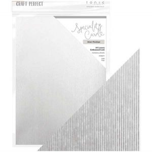 Tonic Studios Craft Perfect Luxury Embossed Cardstock – Silver Pinstripe