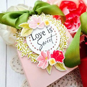 Papertrey Ink Wreath Favor Box Sentiments Die Set class=