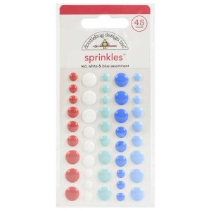 Doodlebug Design Inc. Sprinkles Enamel Dots - Red, White & Blue