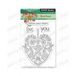 Penny Black Floral Heart Stamp