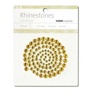 Kaisercraft Adhesive Rhinestones 100/Pkg - Deep Yellow