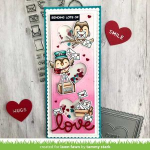Lawn Fawn Scalloped Slimline With Hearts: Portrait Die class=