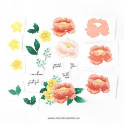 Concord & 9th Painted Peony Stamp Set