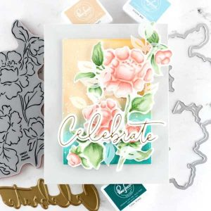 Pinkfresh Studio Joyful Peonies Stamp class=