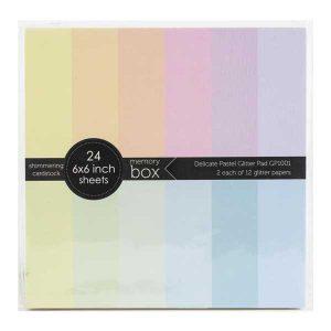 """Memory Box Glitter Paper Pad 6""""X6"""" - Delicate Pastel"""
