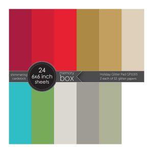 "Memory Box Glitter Paper Pad 6""X6"" - Holiday"