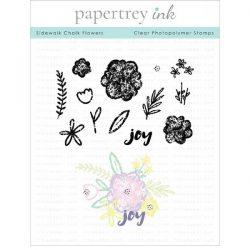 Papertrey Ink Sidewalk Chalk Flowers Stamp