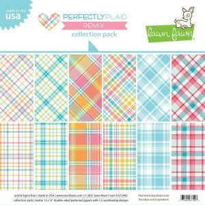 """Lawn Fawn Perfectly Plaid Remix, Double-Sided Collection Pack 12""""X12"""""""