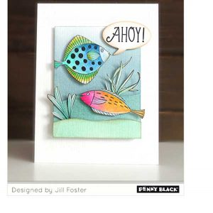 Penny Black Birthday Fishes Stamp class=
