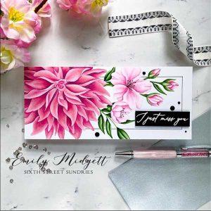 Pinkfresh Studio Miss Your Smile Slimline Stamp class=
